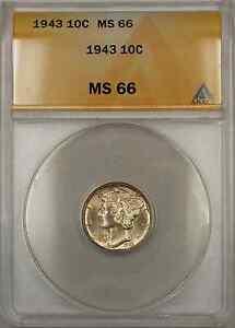 1943 Mercury Dime 10C ANACS MS-66 (Full Split Bands 11 A)