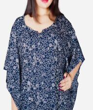 Long Navy Dress Plus Size 22 24 26 28 30 32 Circles print Blue Kaftan 251