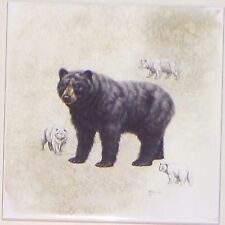 "Bear Ceramic Tile 4.25"" x 4.25"" Kiln Fired Wild Life Decor"