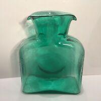Blenko Art Glass Double Spout Water Bottle Carafe Emerald Green