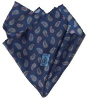 NEW GUCCI GORGEOUS BLUE RED HAND ROLLED SUIT POCHETTE SILK POCKET SQUARE BUCKLES