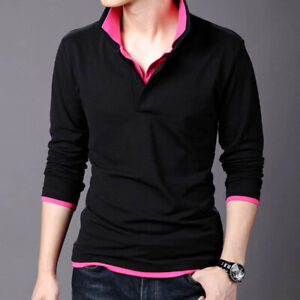 Mens Sports T-Shirts Long Sleeves Slim Luxury Camisas Polo Double Collar T-Shirt