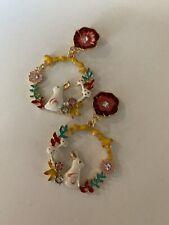 BETSEY JOHNSON Gold Wreath Rabbit Floral Drop Crystal Dangle Earring-BJ-E8996