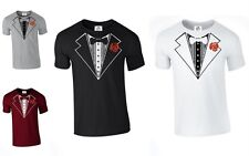 Tuxedo Suit Bow Tie Funny Joke fancy dress T SHIRT WEDDING STAG (ROSE,TSHIRT)
