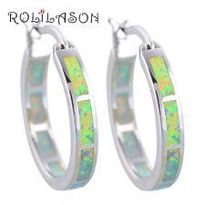 Oe429Ou Precious Round Hoop Earrings White Fire Opal Silver Fashion Jewelry