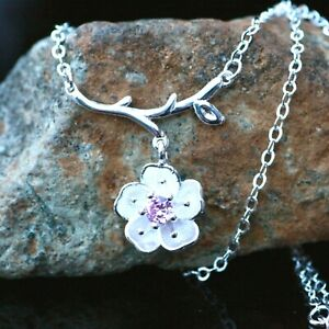 Sakura Cherry Blossom Necklace Sterling Silver 925 , Adjustable , Pink Cubic
