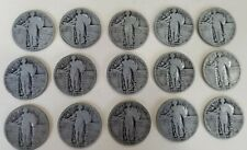Mixed Lot of 15 Standing Liberty Silver Quarters, 1925, 1926, 1927