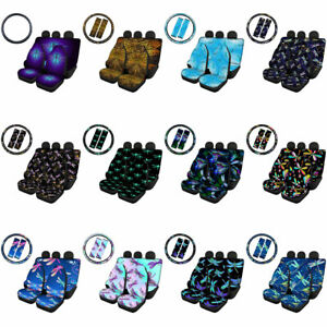 Dragonfly Car Seat Cover Full Set with Steering Wheel Cover 7 Pack Universal Set