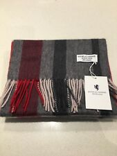 Royal Cashmere 100% Flisk Red Grey Cream Charcoal Grey Scarf Warm Shawl Wrap New