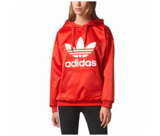 ADIDAS ORIGINALS TREFOIL SATIN PULLOVER HOODIE  RED SIZE S NWT
