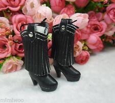Blythe Pullip Momoko Obitsu Doll Shoes PU Leather Tessel High Heel Boots Black