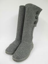 UGG grey knitted Cardy boots suede heel three branded button fastening 41 UK8.5