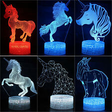 7 Colors 3D Unicorn LED Night Light Changed USB Touch Table Desk Lamp Kids Gifts