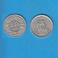 § Suisse Swiss Confédération Helvétique 2 Francs en argent 1944 Exemplaire N° 1