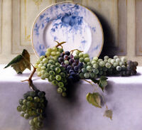 Excellent Oil painting John Elwood Bundy - Still LIfe with Grapes with plate