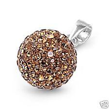 Stylish Shiny Crystal Ball Pendant Sterling Silver 925 Jewelry Gift Smokey Topaz