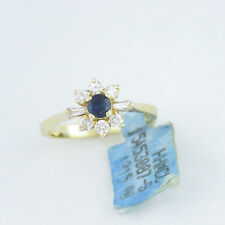 Nyjewel 14k Gelb Gold schöner Saphir Diamant Cocktail Ring