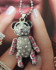 Uk Seller Sparkling Lovely Removable Cute Pink Bear Necklaces