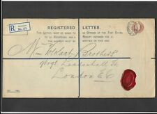 GB Stationery KEVII 3d red-brown Registered Envelope size K MANCHESTER to London