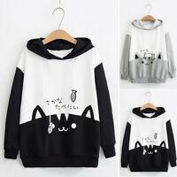 Women Cute Cat Printed Hooded Sweatshirt Hoodie Loose Pullover Tops Coat Plus UK