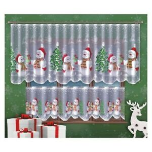 COLOURED CHRISTMAS DECORATION CAFE NET CURTAIN SNOWMANS TWO DROPS-SOLD BY METERS