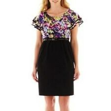 NEW Alyx® Ruffle Cap Sleeve Multi color Belted Dress Plus 20W Black Pencil skirt