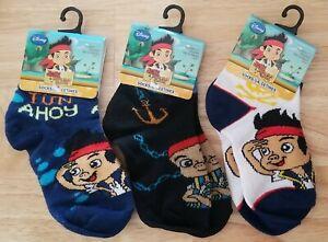 3 Pair Jake The Never Land Pirates Kids Boys Ankle Socks Size 4-6 Shoe Size 7-10