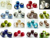 12(mm) LARGE HOLE EUROPEAN STYLE CZECH GLASS BEADS - GREAT FOR LEATHER - (8PCS)