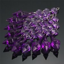 10pcs Acrylic Crystal Beads Garland Chandelier Hanging Wedding Home Decor Purple