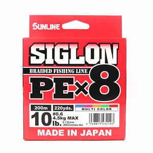 Sunline Siglon Braided Línea X8 200M P.E 0.6 10LB Multi Color (2103)