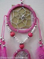 Small Car Dream Catcher Silver Thread Beads 6 cm Web 36 cm Overall Drop