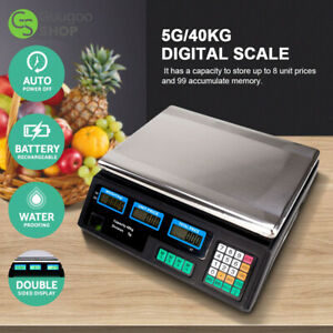 40kg Digital Fruit Scales Electronic Veg Commercial Shop Retail Price Weigh NEW
