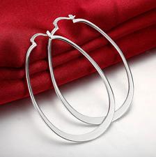 Large Oval Hoop Vogue Earrings Womens Sterling Silver Elegant 68mm Extra