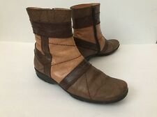 New Hispanitas Leather Side Zip Brown Booties Boots Size 38 7.5 US