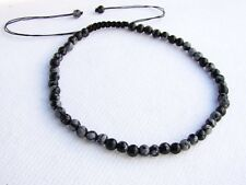 Delicate Men's Shamballa bracelet  all 4mm Snowflake Obsidian beads