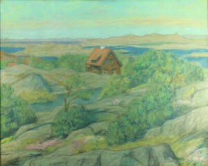 Scandinavian School (XIX-XX c.) Pastel Drawing - Landscape Riverside Cottage Sha