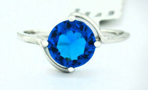 BLUE TOPAZ 2.26 Cts LADIES RING Silver Plated * BRAND NEW WITH TAG * Size 6