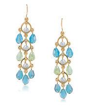 NEW CAROLEE 'Niagra Mist' Blue Green Gold-Tone Beaded Linear Drop Earrings