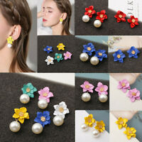 Women Fashion Double Layer Flower Pearl Drop Dangle Earrings Ear Stud Jewelry