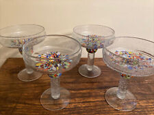 Mexican Hand blown Margarita Glasses Set of 4 Green Orange Blues & Many Colors