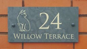 slate house name number sign with cat design