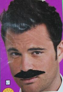 NEW CHARACTER MOUSTACHE BLACK STRAIGHT RUBIES #50238 MUSTACHE SELF ADHESIVE