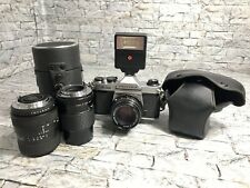 Asahi Pentax K1000 35mm Film Camera Pouch Quantaray Albinar Lenses TESTED WORKS