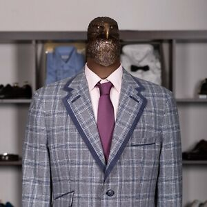 Great $2550 ANGELO GALASSO Wool And Cashmere Check Sport Coat Azure 42US/52IT