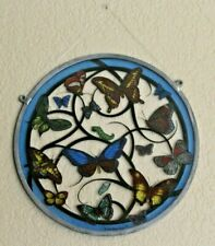 Round Butterfly Hanging Stained Glass Suncatcher