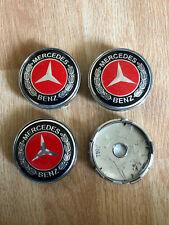4 PCS Mercedes Wheel Centre Cap Alloy Hub Center Caps 60mm Black/Red