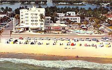 """Fort Lauderdale FL """"The Trade Winds"""" Aerial View Old Cars Postcard"""
