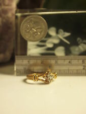 GENUINE 14K YELLOW GOLD LADIES DIAMOND CLUSTER RING SIZE 17.50 MM ( US-7 1/4 )