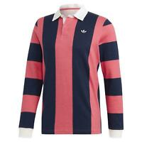 adidas ORIGINALS MEN'S RUGBY POLO SHIRT LONG SLEEVE RETRO VINTAGE PINK NAVY NEW