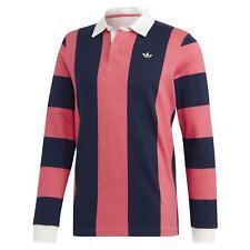 Adidas Originals HOMBRE Polo de Rugby Manga Larga Retro Vintage Rosa Azul Marino